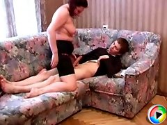 Experienced mature slut squeezes loads of hot cum out of a stiff young cock