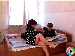 Slutty mature maid fucked a hot boy in his bedroom