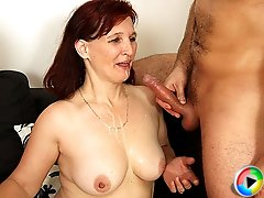 Sexy mature slut taking on a young cock with a nice thick dick inside her wet pussy