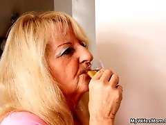 The lusty blonde grandma wants a big hard cock inside her and he can deliver that with ease