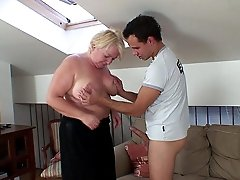 She loves how he plays with her big tits and even more how he fucks her slippery pussy