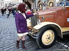 He seduces the hot granny babe with his vintage car and fucks her hard back at his place