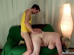 Granny slut bent over and fucked hard by her son in law in her dripping wet pussy