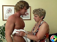 Granny is a cock fiend and the young man with the hard body humps her body way hard