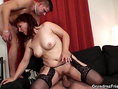 The mature redhead makes sure the guys get turned on so they can fuck her like she needs