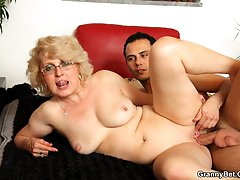 Blonde grandma and her hardcore scene with a young man and his big hard cock